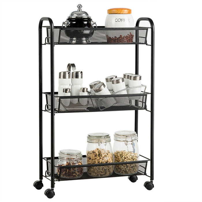 3-Tier Mesh Rolling Cart Mobile Organizer Stand Utility Cart Trolley