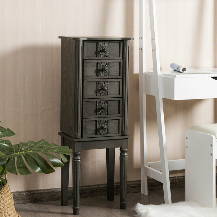 Standing Jewelry Cabinet Armoire with Makeup Mirror