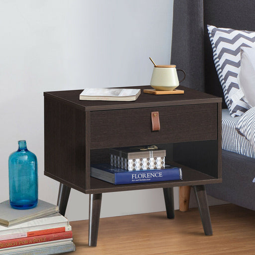 Nightstand Bedroom Table with Drawer Storage Shelf