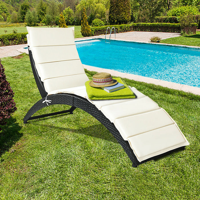 Folding Patio Rattan Lounge Cushioned Portable Chair