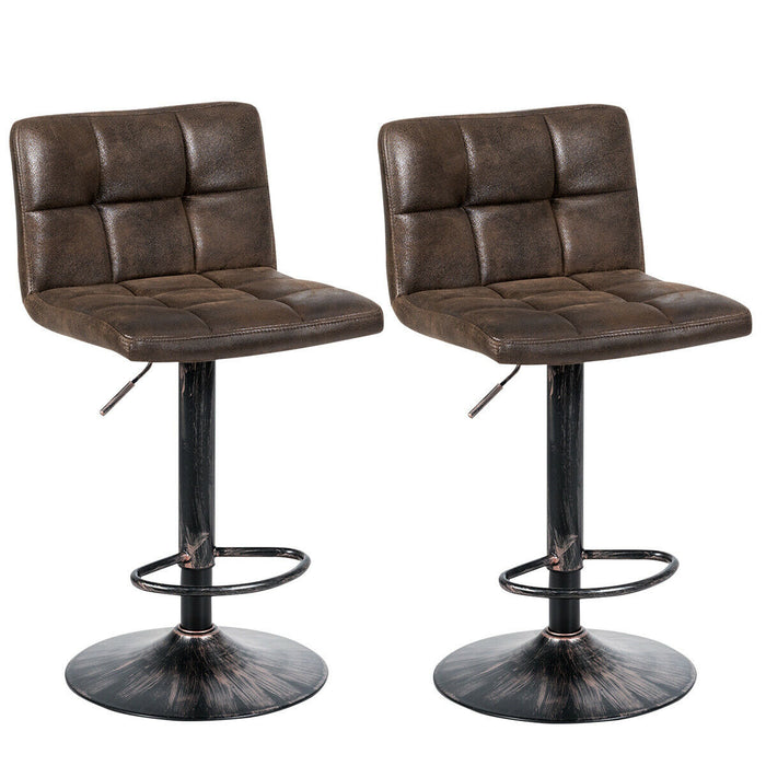 Set of 2 Adjustable Swivel Counter Chairs with Footrest & Back Base