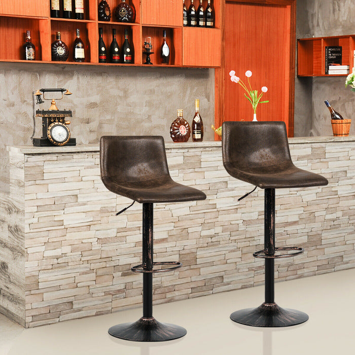 Set of 2 Adjustable Swivel Fabric Bar Stools