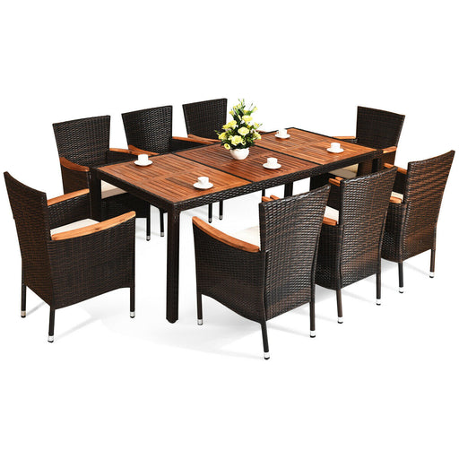 9 pcs Patio Rattan Dining Set 8 Chairs Cushioned Acacia Table Top