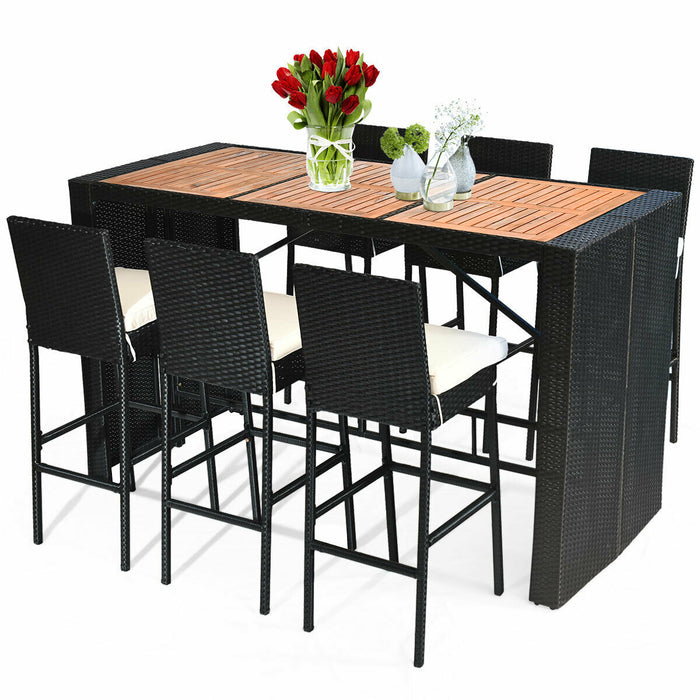 7 Pcs Patio Rattan Wicker wood Table Top Dining Furniture Set