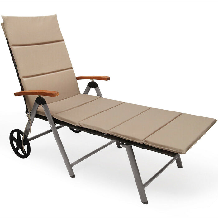 Outdoor Chaise Lounge Chair Rattan Lounger Recliner Chair