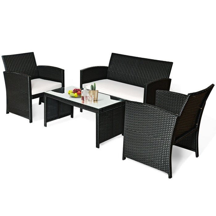 4 Pcs Wicker Conversation Furniture Set Patio Sofa and Table Set