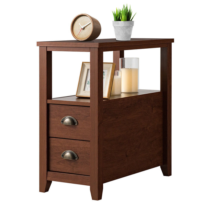 End Table Wooden with 2 Drawers and Shelf Bedside Table