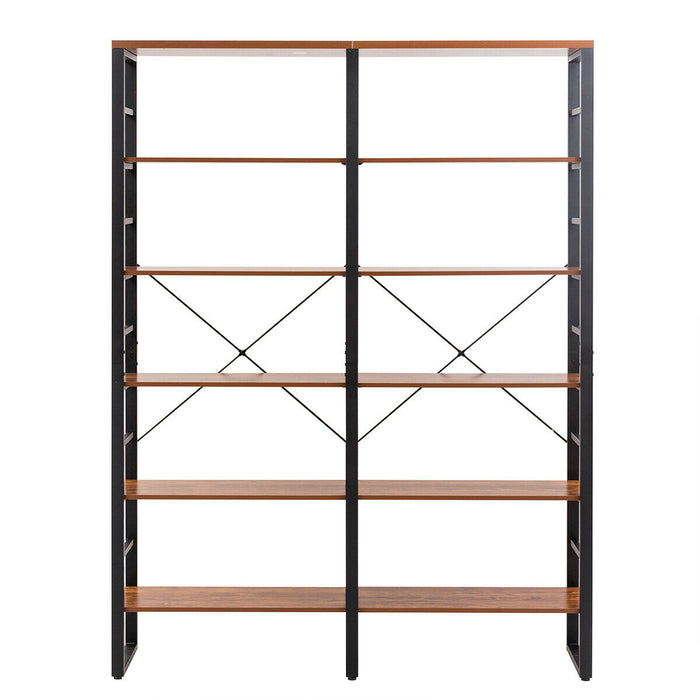 "80.7"" Bookcase Industrial Large Open Metal Storage Shelf"