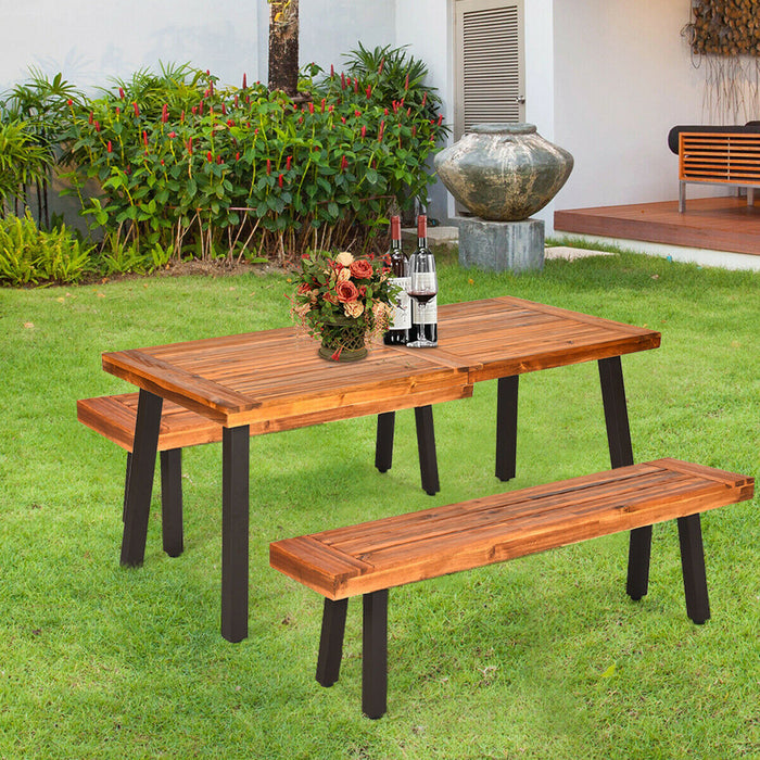 Acacia Wood Outdoor Dining Table Patio with Umbrella Hole