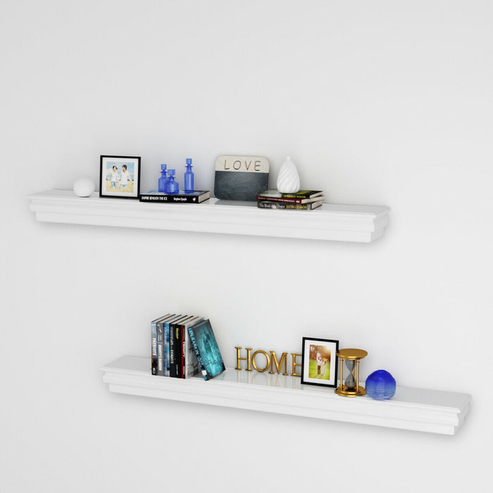 "60.5"" Floating Shelf Wall Mounted Shelves Beveled Storage Rack"