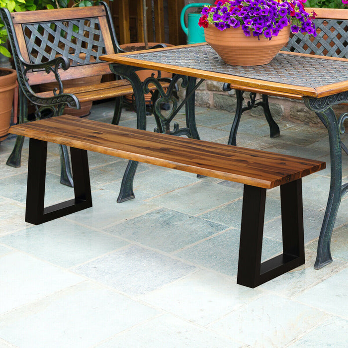 Solid Acacia Wood Patio Bench Dining Bench Seating Chair