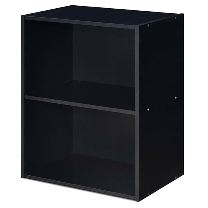 2 Tier Open Night Stand End Table Sofa Side Storage Furniture-Black