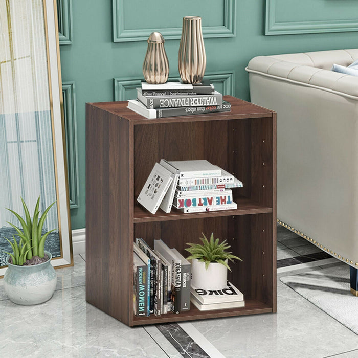 2 Tier Open Night Stand End Table Sofa Side Storage Furniture-Walnut