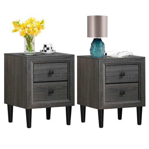 2PCS Nightstand W-2 Drawer Multipurpose