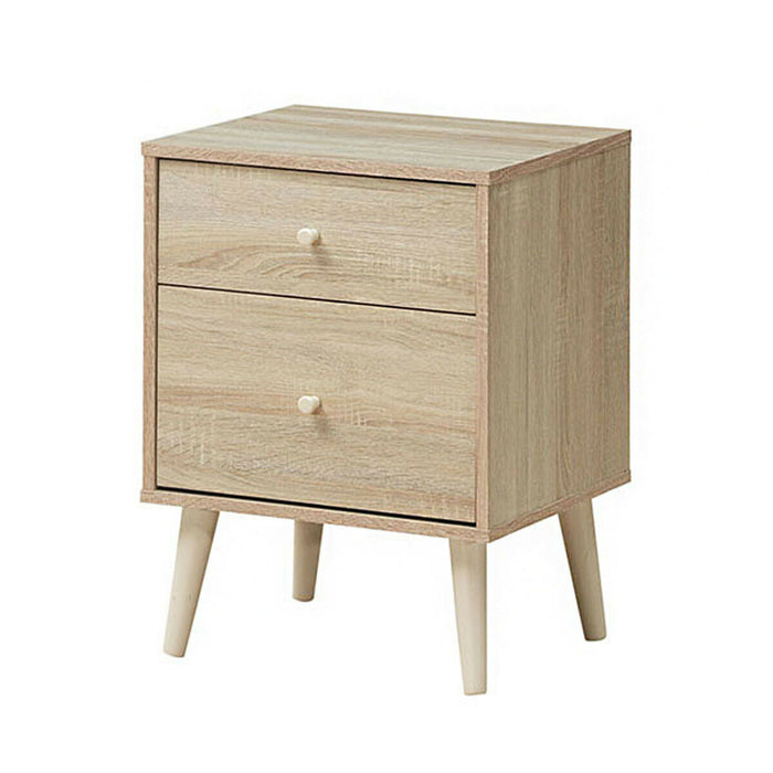 2-Drawer Nightstand Beside End Side Table with Rubber Legs