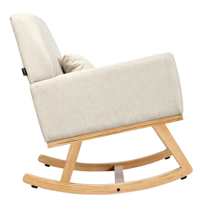 Massage Rocking Chair Upholstered Armchair with Lumbar Support