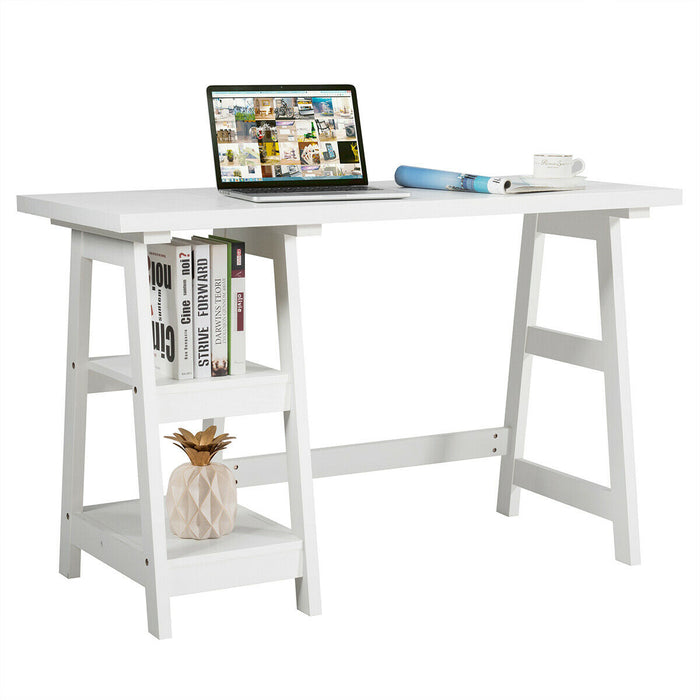 2 Tier Shelf Wooden Trestle Computer Table Writing Desk