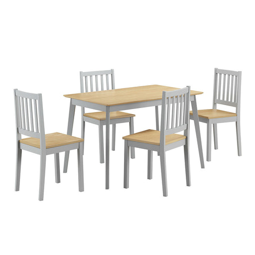 5 Pcs Mid Century Modern Dining Table Set 4 Chairs w-Wood Legs Kitchen Furniture