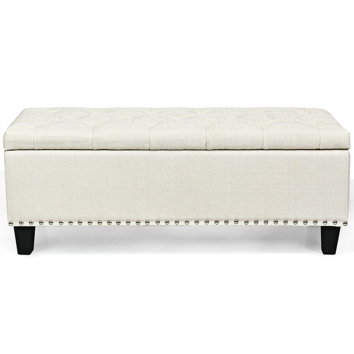 "48"" Rectangular Fabric Storage Ottoman Bench Button Tufted Foot Rest Stool"