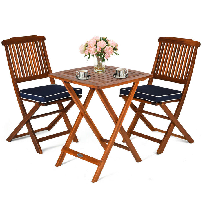 3 Pcs Patio Bistro Set Wood Folding Table Set Garden Yard