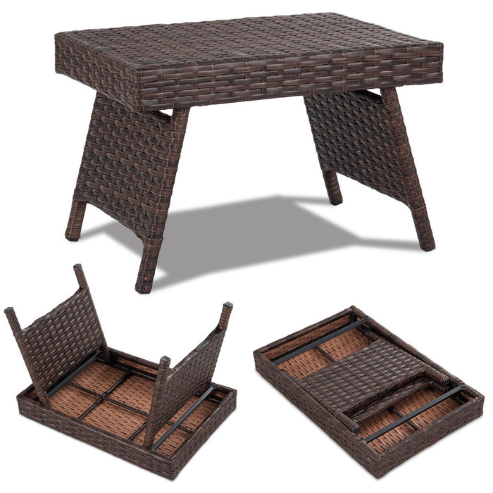 Folding PE Rattan Side Coffee Table Patio Garden Furniture