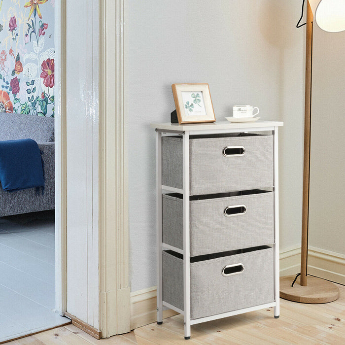3-Drawer Fabric Dresser Storage Tower Vertical Foldable Pull Bins-White