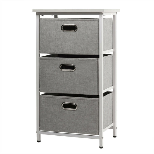 3-Drawer Fabric Dresser Storage Tower Vertical Foldable Pull Bins