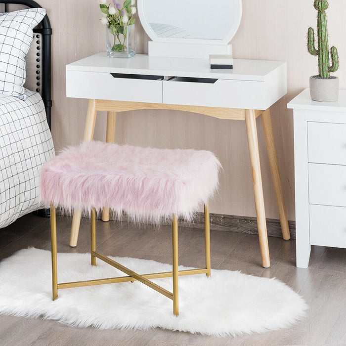 Faux Fur Ottoman Decorative Square Stool with Metal Legs