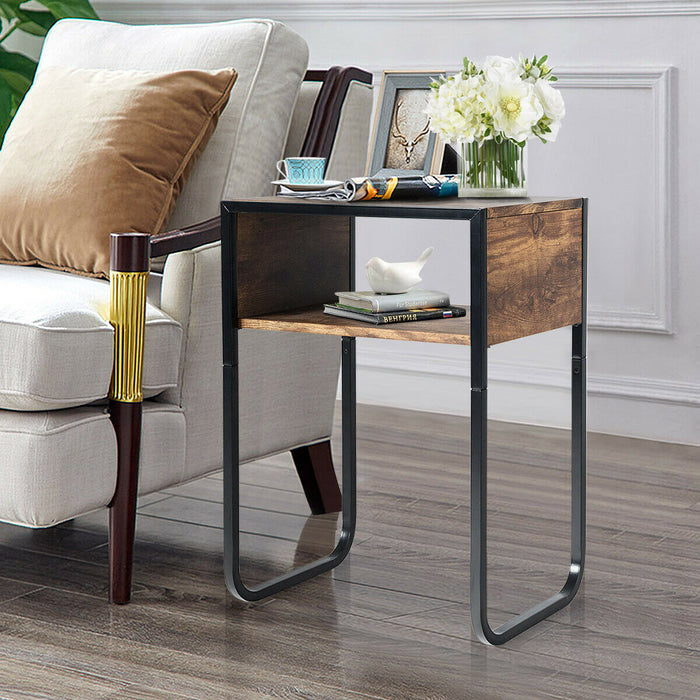 Industrial Coffee Nightstand Side Table with Metal Rustic Frame