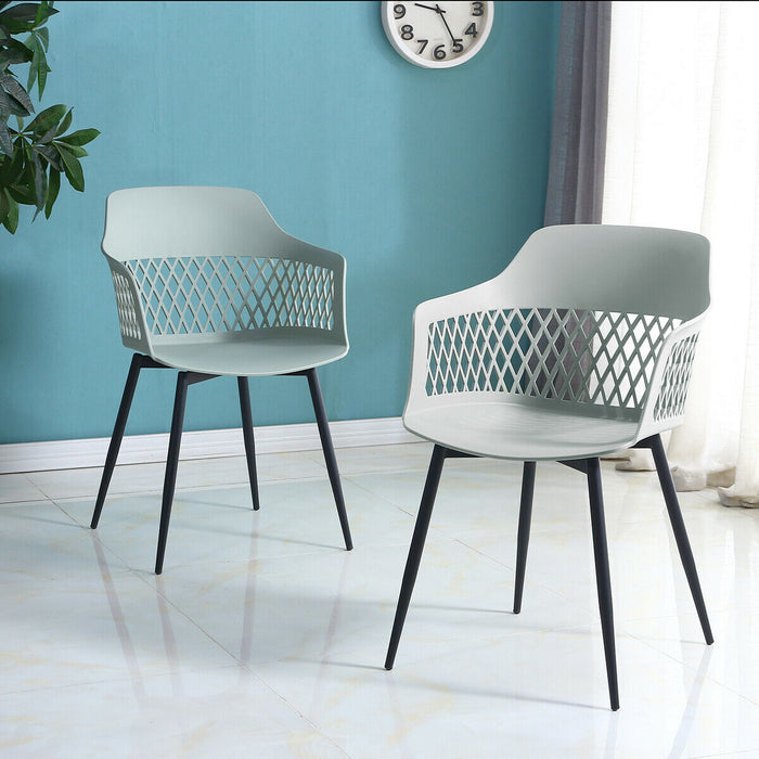 Set of 2 Modern Hollow Back Plastic Arm Chair