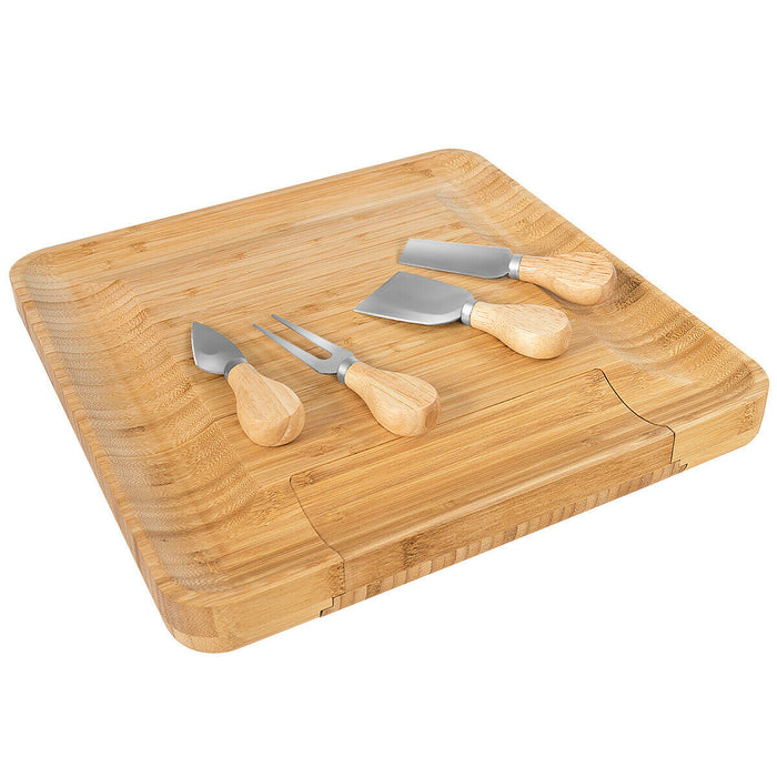 Bamboo Cheese Board & Knife Set  w- Slide-out Drawer