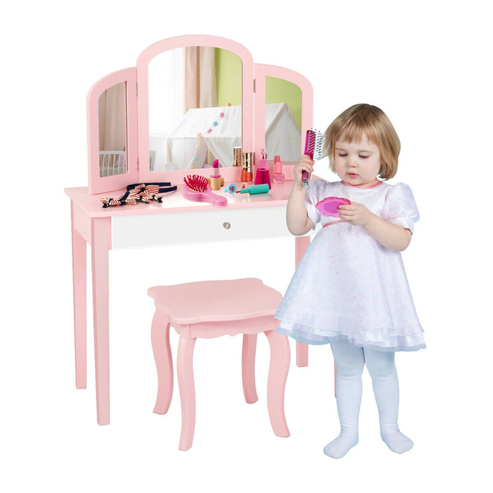 Kids Princess Make Up Dressing Table with Tri-folding Mirror & Chair-Pink