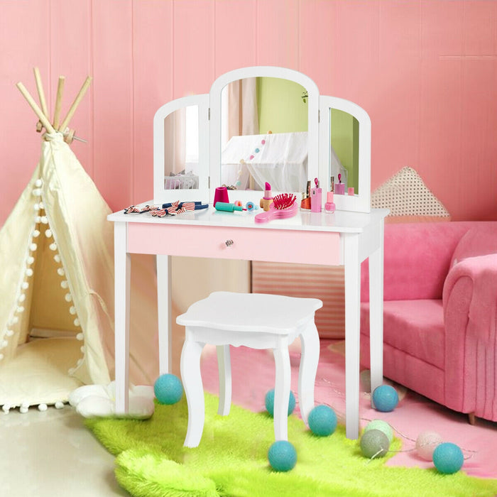 Kids Princess Make Up Dressing Table with Tri-folding Mirror & Chair-White