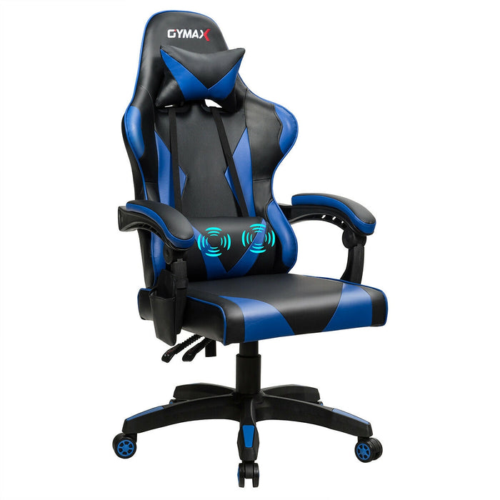 Gaming Chair Reclining Swivel with Massage Lumbar Support -Blue