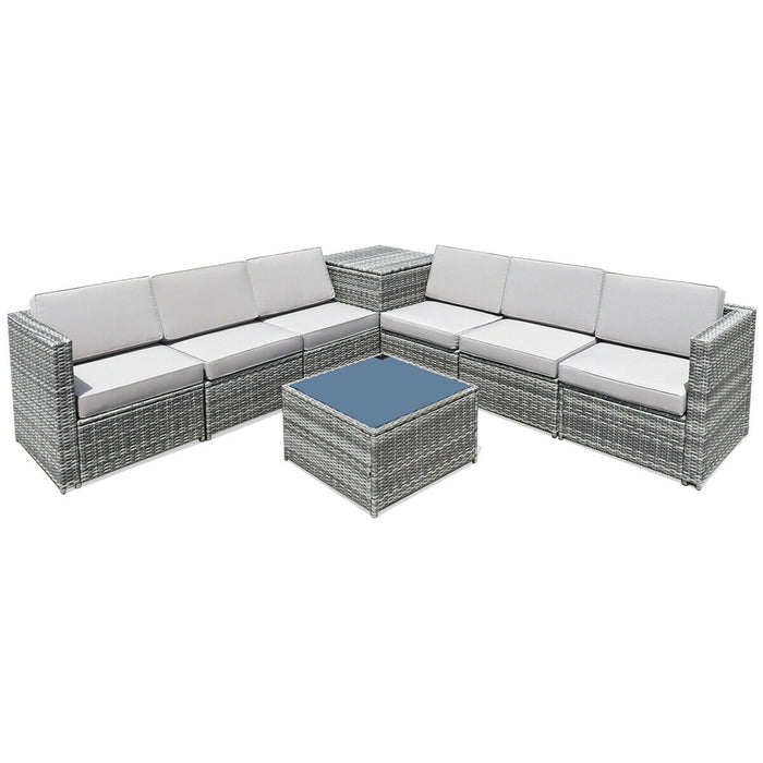 8 PCS Weaving Rattan Sofa Set with Storage Outdoor