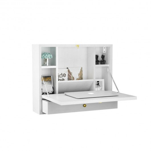 Wall Mounted Folding Laptop Desk Hideaway Storage with Drawer-White