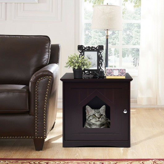 Sidetable Nightstand Weatherproof Multi-function Cat House-Brown