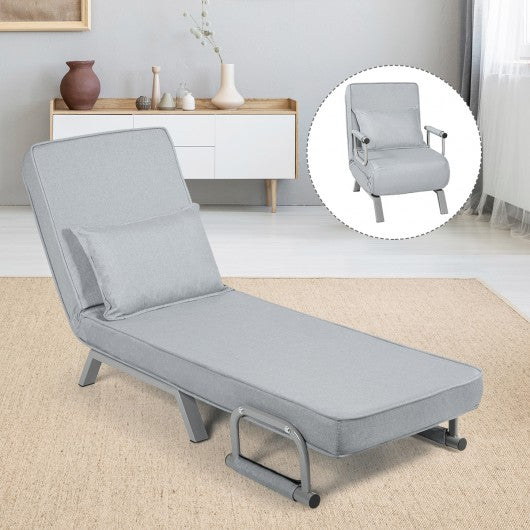 Folding 5 Position Convertible Sleeper Bed Armchair Lounge Couch with Pillow-Light Gray