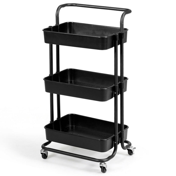 3-Tier Utility Cart Storage Rolling Cart with Casters