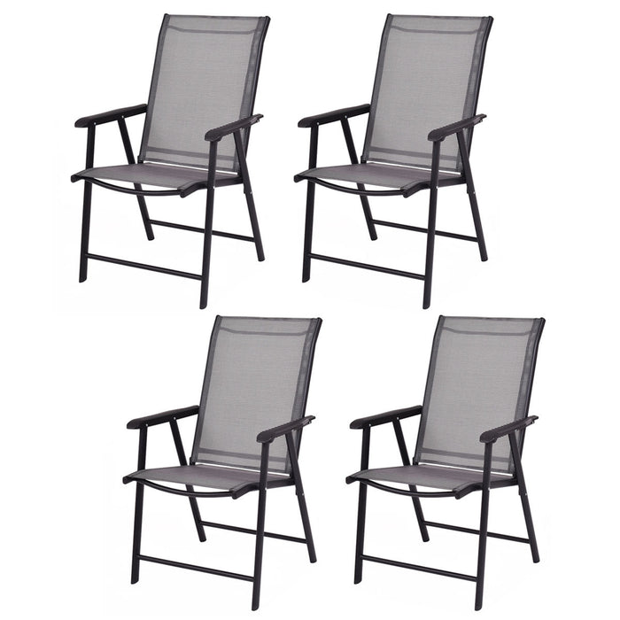 Set of 4 Outdoor Patio Folding Chairs with Armrest