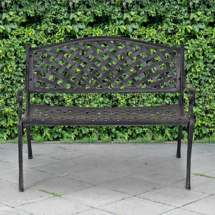 "40"" Outdoor Aluminum Antique Garden Patio Bench"