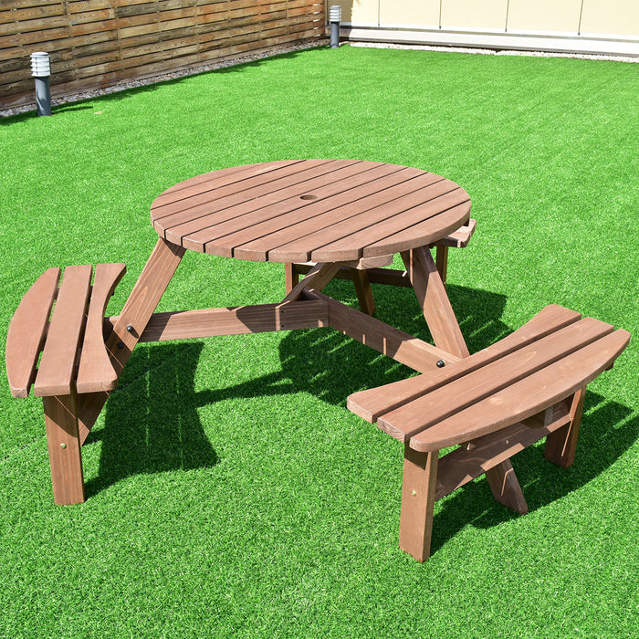 6-Person Patio Wood Picnic Table Beer Bench Set