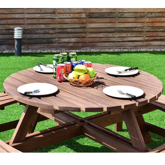 Patio 8 Seat Wood Picnic Dining Seat Bench Set