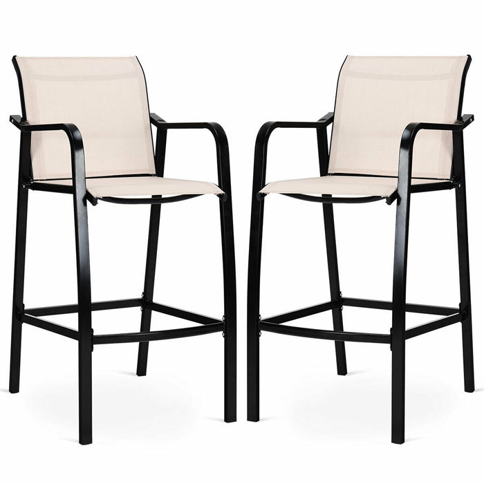 2 pcs Counter Height Stool Chair Steel Frame Dining Bar Chair