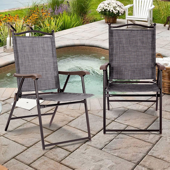 Set of 2 Patio Folding Sling Back Camping Deck Chairs