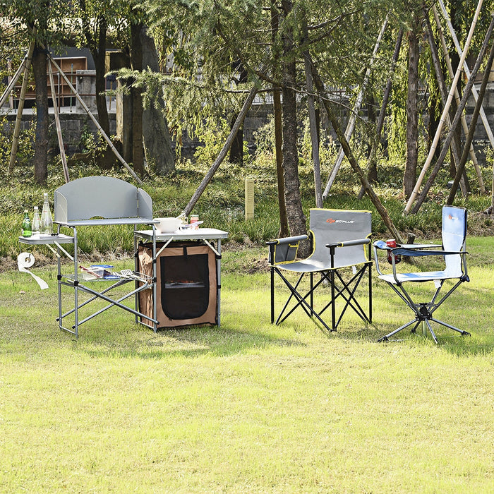 Foldable Outdoor BBQ Portable Grilling Table With Windscreen Bag