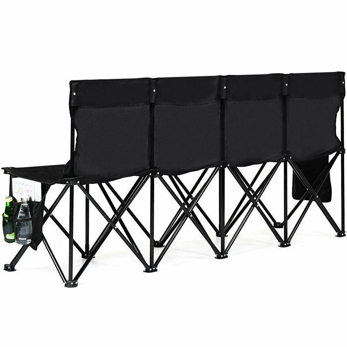 Folding 4 Seats Sports Sideline Bench Outdoor with Side Bag