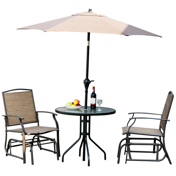 2 pcs Patio Swing Single Glider Chair Rocking Seating