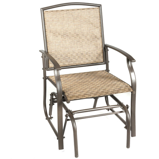 Steel Frame Garden Swing Single Glider Chair Rocking Seating