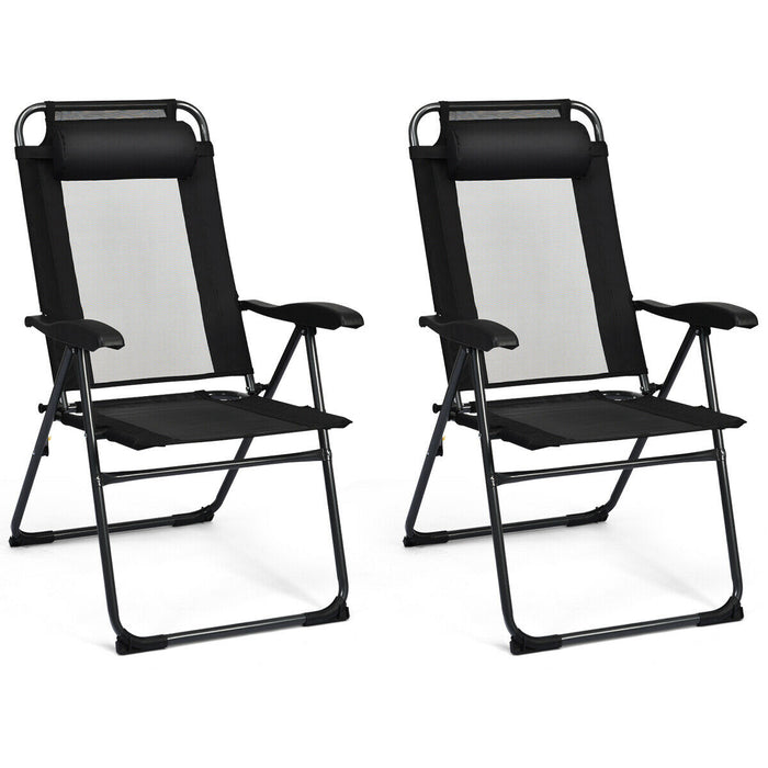 2 PCS Patio Adjustable Folding Recliner Chairs